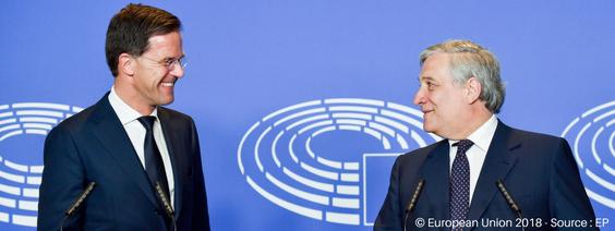 Niederländischer Ministerpräsident Mark Rutte im EU-Parlament